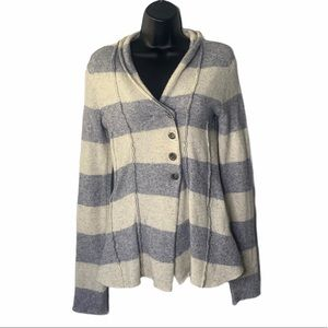 Free People Gray Button Front Wool Blend Cardigan